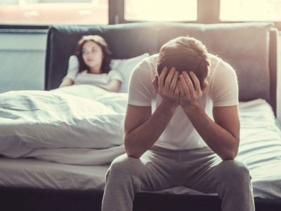 Addressing-Sexual-Dysfunction-as-Part-of-Your-Addiction-Recovery - couple in bedroom man upset