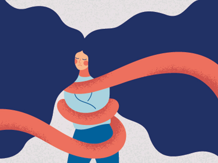 illustration of woman with rope restraining her arms - substitute addictions