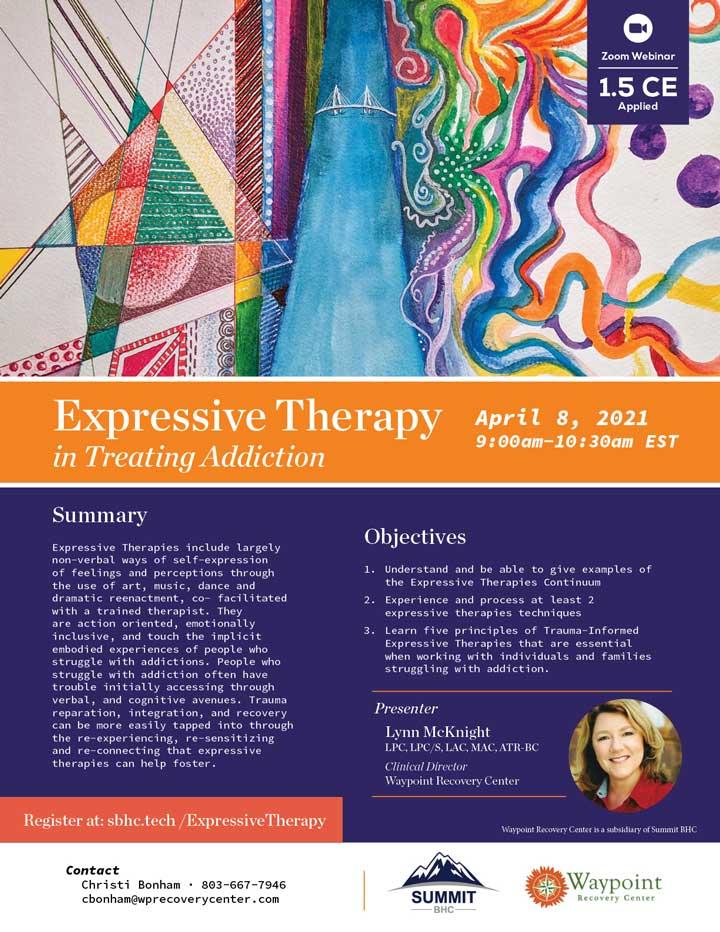 Expressive Therapy in Addiction Treatment - Webinar - April 8, 2021
