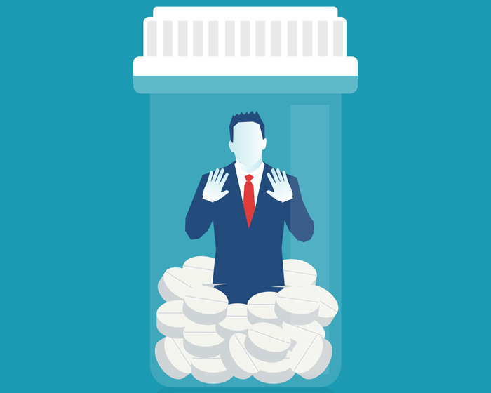 illustration of man trapped in pill bottle - Valium